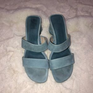 Zara Light Blue Goat Leather Heels Size 8.5/39